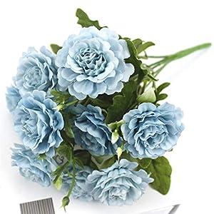 Silk Flower Arrangements Artificial Bouquet 1 Bunch of 10 Artificial Peony Tea Rose Camellia Silk Artificial Flower Carnation DIY Home Garden Wedding Decoration Thanksgiving Party (Color : Blue)
