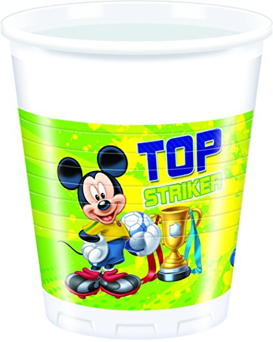200 ML en Plastique Disney Mickey Mouse Football Cups, Lot de 8