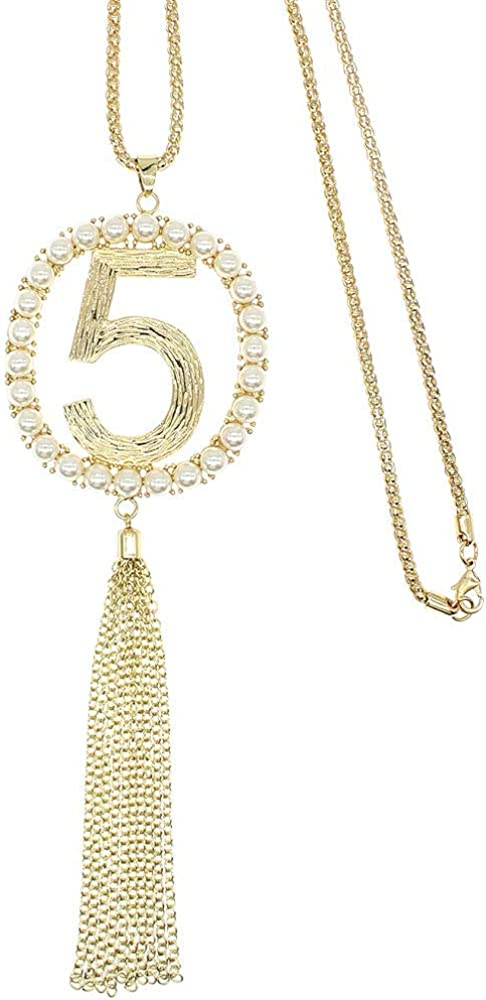 HSQYJ Fashion Lucky 5 Pendant Crystal Pearl Necklaces Elegant Beautiful Number Five Long Tassel Statement Necklace Jewelry Garment Accessories for Women Girl Gift