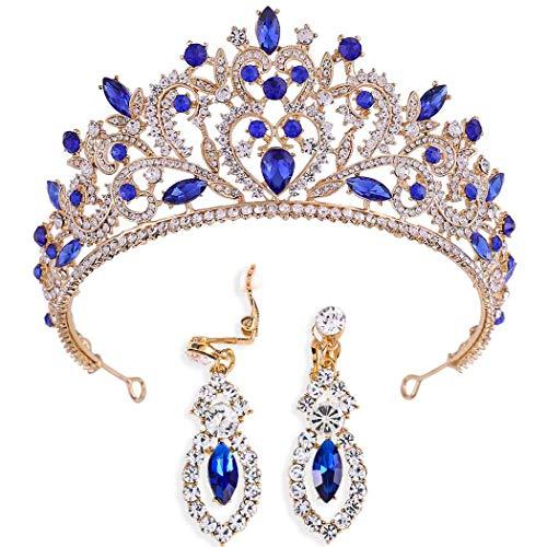 Brinote Novia Corona y Tiaras con Pendiente Oro Reina Rhinestone Headpieces Vintage Accesorios para el Cabello Boda Joyería Set para Mujeres y Niñas (Azul)