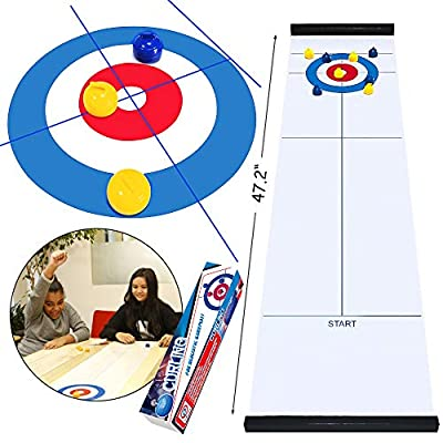 Scientoy Tabletop Curling Game, Family Games for Kids and Adults with 10 Shuffleboard Pucks, Curling Board Game for Home& School &Travel, Gift for Child Age 6 and Up, Compact Curling Game for Storage