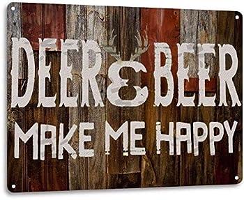Ylens Deer Beer Make Me Happy Retro Funny Hunting Hunt Cabin Wall Decor Metal Tin Sign 8x12in