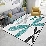 GLF Dragonfly Traditional Area Rug Living Room, Ornamental Dragonfly Figures with Lace and Damask Effects Artsy Image, Fashionable High Class Living Dinning Room(2.5'x 7') Teal Turquoise Black
