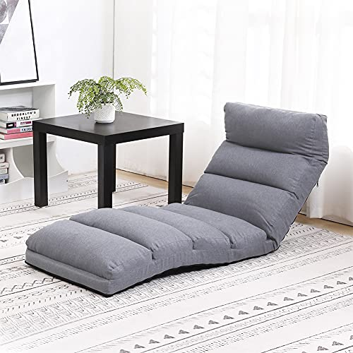 FLOGUOOR Floor Chair with Back Support, 6 Position Adjustable Chair Bed, Padded Lazy Sofa Chair Bed for Reading, Gaming, Floor Sofa Suitable for Home or Office(Grey)6086G