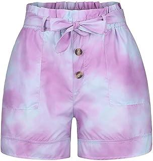 Summer Ladies Shorts Loose Casual Woman Tie-Dye Binding Elastic Leisure Pocket Fitness