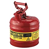 Justrite 7120100 - Galvanized Steel, Type I Red Safety Can, With Large ID Zone, Meets OSHA & NFPA Standards...