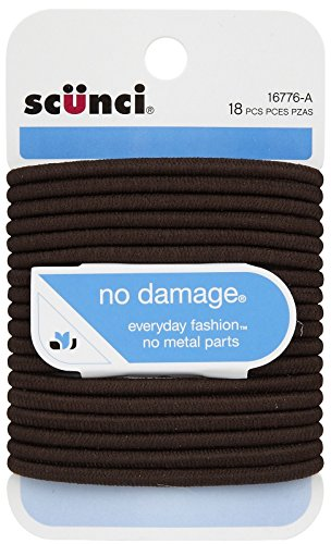 Scunci No Damage Elastic Hair Bands, Brown (hfs-koi-zk-a1925)