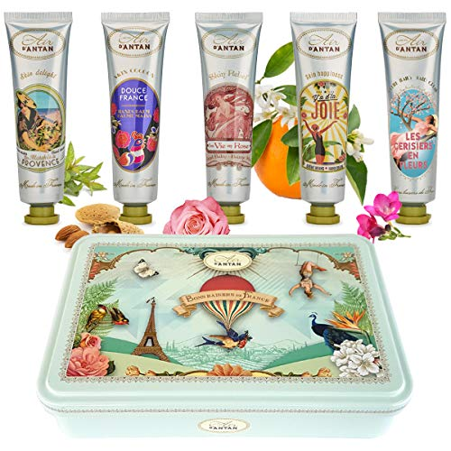 Hand Care Gift Set : 5 Hand Cream For Women In a Lovely Tin Box, 5 Perfume: Verbena, Rose, Cherry Blossom, Lily of the Valley, Almond/Travel Size Hand Lotion/Dry Hands/Mini Hand Lotion/Hand Repair