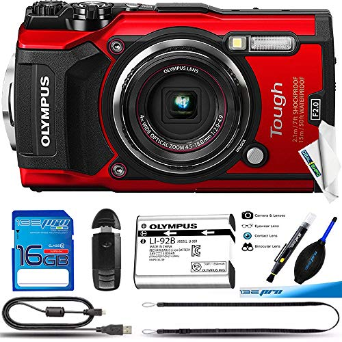 Olympus TG-5 Waterproof Camera with 3-Inch LCD, Red - Deal-Expo Basic Accessories Bundle