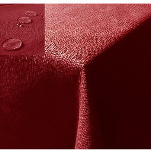 JEMIDI Tischdecke/Gartentischdecke Lotus Effekt Leinenoptik Tischdecke Decke Leinen Fleckschutz XL Rot Oval 130cm x 220cm