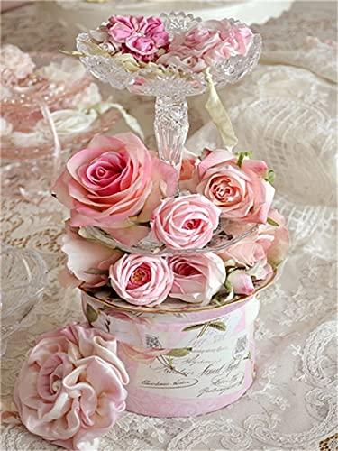ZXDA Dipinto con i Numeri Frameless Rose Flower Dipingi con i Numeri su Tela Numero Fai da Te Pittura Paesaggio Decorazioni per la casa Regalo A9 45x60 cm