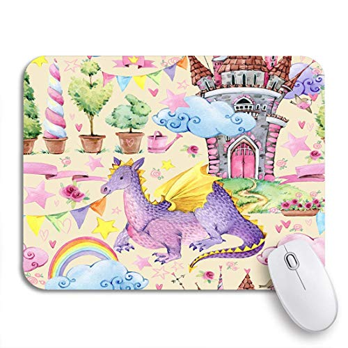 Gaming Mouse Pad Bunte Tierkinder Märchen Aquarell Drache Märchen Schloss rutschfeste Gummi Backing Computer Mousepad für Notebooks Maus Matten