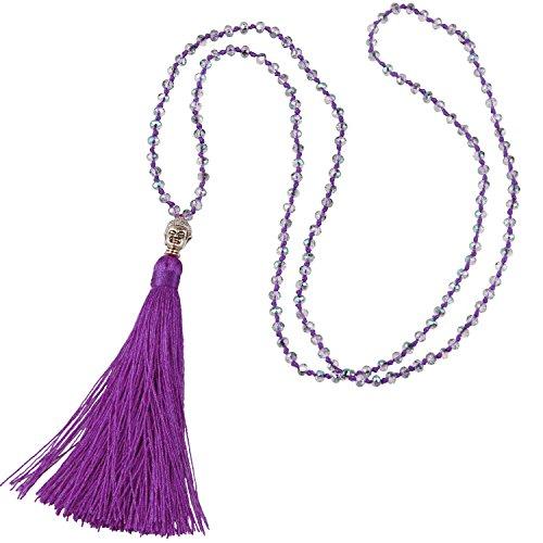 KELITCH Mode Kristall Strang Halskette Lange Kette Y- Gestalten Halskette Mit Buddha Kopf Quaste Anhänger Halskette - Tief Lila