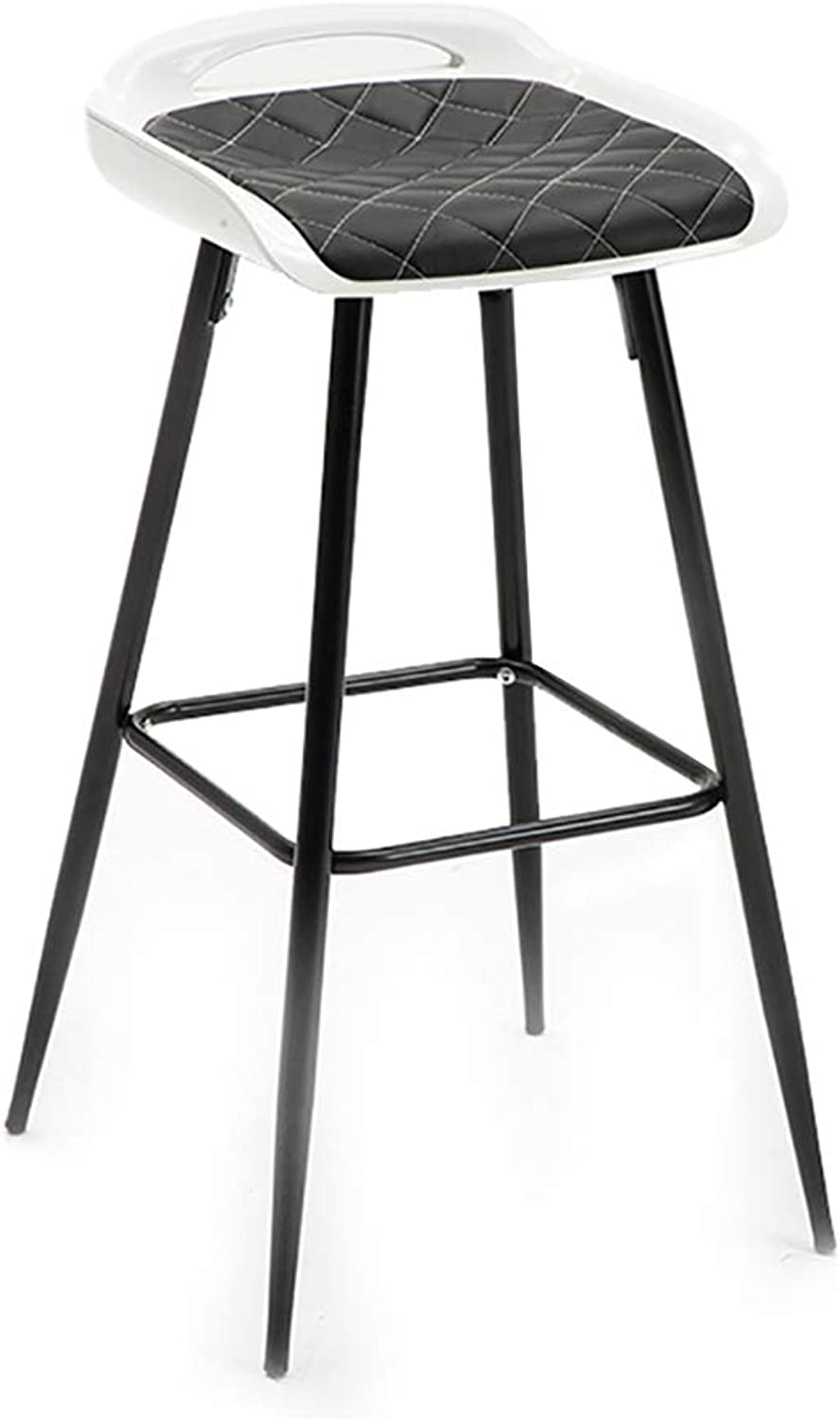 YUBIN Bar Stool, Square Seat, PU Leather Seat, Breakfast Stool and Bar Stool for Kitchen (color   Black Black feet)