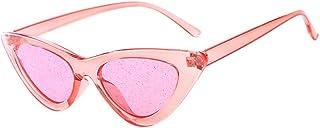 VENMO Fashion Men's Retro Small Oval Sunglasses for Women Metal Frame Shades Glasses Cat Eye Metal Edge Frame Women Fashion Sunglasses Mirrored Lens Women Sunglasses