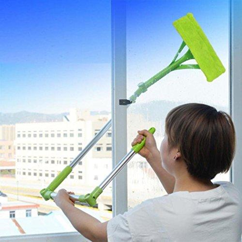 Wuayi Schwamm-Mopp zum Fensterputzen, ausziehbarer flexibler, faltbarer Teleskop-Griff, Glas-Reinigung