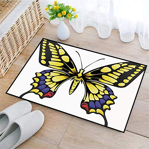 Alfombrilla de Baño Antideslizantes, Mariposa de Swallowtail, Big Yellow Machaon Butterfly Ilustración Papi,Tapete para el Piso Lavable a Máquina con Microfibras Suaves Absorbentes de Agua para Bañera