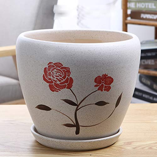PLL rode bloem, de ademende bloempot keramische binnen- en buitenshuis tafelbladbalkon met bak-groene bloempot