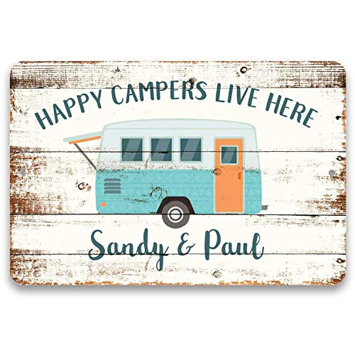 Gxiliru Personalized Happy Campers Live Here Sign, Metal Wall Art, Custom Sign Decor