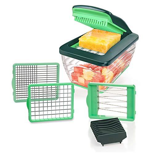 Genius Nicer Dicer Chef S Kombi-Set Premium (7 Teile) in grün mit Hobeleinsatz Gemüsehobel Gemüseschneider Tomaten-Gemüse-Schneider - einfach & schnell Gemüse schneiden