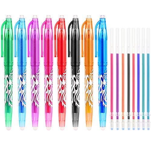 GOLDGE 8 Stück Radierbar Tintenroller Set Tintenroller Auswechselbar Verschiedene Farbe Wärme Reibung 0,5mm mit 8er Ersatzmine für Schulmaterial Büromaterial
