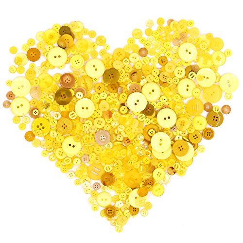 Swpeet 650 Pieces Assorted Sizes Resin Buttons 2 and 4 Holes Round Craft Buttons for Sewing DIY Crafts Children's Manual Button Painting (Yellow)