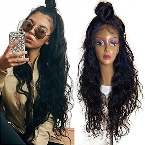 Synthetic Lace Front Wigs for Women Long Natural Wave Heat Resistant Fiber with Baby Hair Natural Black 24 Inch Lace Wigs