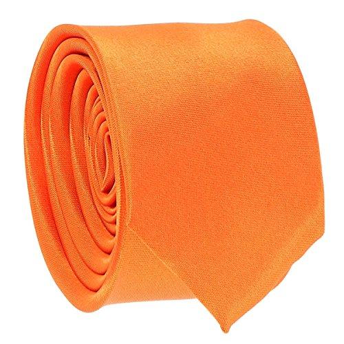 Cravate Fine Orange - Cravate Homme Coupe Slim Moderne - 5cm à la Pointe - Couleur Unie - Accessoire Chemise pour Mariage, Cérémonie