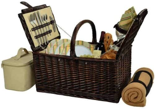 GameOver Buckingham Basket for Wicker-Hampt 4 with Blanket-Brown Mail order gift cheap