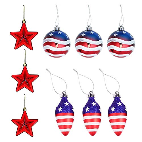 Hanging Ball Ornaments American Flag Christmas Tree Hanging Balls Patriotic Decorations for Fourth of July Independence Day 9PCS Decor-Modern