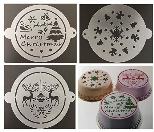 Rhinestone Paradise taartsjabloon set van 3 Kerstmis Tortentatto Taarten sjabloon versiering