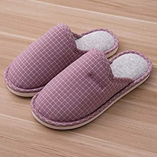 YANGLAN Cotton slippers home thick bottom couple home floor non-slip slippers cotton and linen breathable home slippers Household slippers (Color : Purple, Size : (37~38))