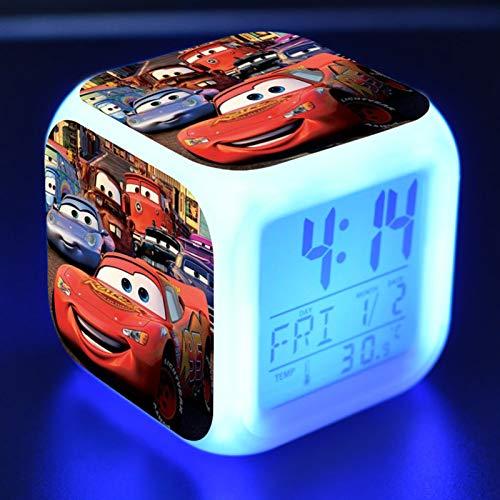 FJNS Cars Reloj Despertador Digital para Niñas Niños con Luces Colores y Lámpara de Luz Nocturna Despertador Silencioso,1