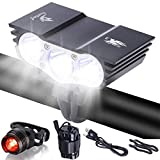 Galwad Store 6600Lm U2 XML 3 CREE LED Mountain Cycle lights Front Bike lights Bicycle Light Headlamp Torch Headlight Rechargable Head Lights Flashlight with 2x18650 Waterproof Battery Pack Rear Light