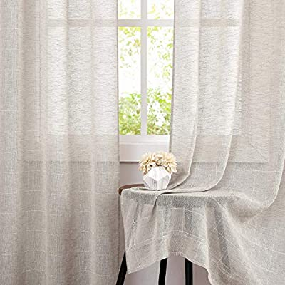Central Park Linen Semi Sheer Curtain White GEO Cross Embroidery Panels Linen Texture Rod Pocket Window Treatment Drape Sets for Living and Bedroom Farmhouse 95 inches Long, 2 Panels, Linen