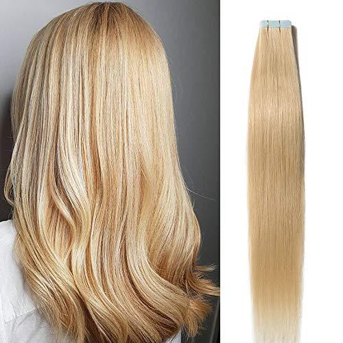 Extension Adhesive Cheveux Naturel 20 Pcs 40g - Rajout 100% Vrai Cheveux Humain Lisse à Bande Adhesive (#613 Blond très clair, 35 cm)