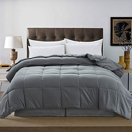 DOWNCOOL Down Alternative Quilted Comforter- Dark Grey Lightweight Duvet Insert or Stand-Alone Comforter with Corner Tabs, Queen 88x92Inches
