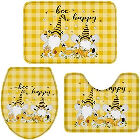 3 Pieces Bathroom Financial sales sale Rugs and Mats with Farmhouse Gnome Bee Wh Sale SALE% OFF Sets