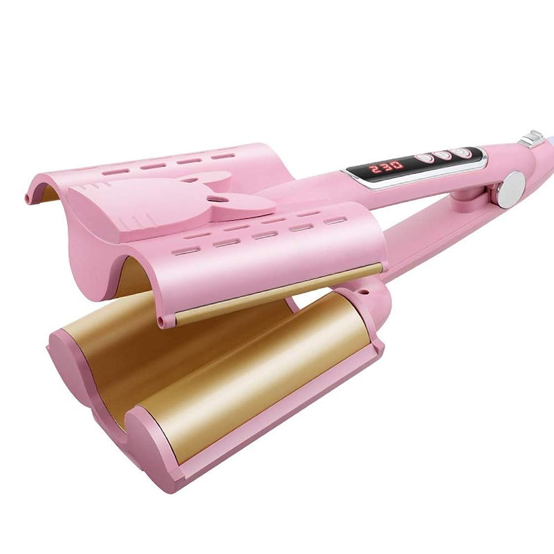 材料いいね寸前VDGHA セラミックコーティングをトルマリン、アンチ火傷絶縁ヒントサロンカーラーウェイバーメーカーアイロンで髪カーリングワンド (色 : ピンク, サイズ : 32mm)