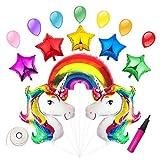 Tumao Unicornio y Arco Iris Globo de Cumpleaños Kit - 5 Estrellas + 7 Globos + 1 Bomba, para Fiesta de Cumpleaños, Arco Iris Decoraciones de la Navidad