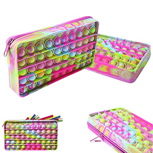 Pop Bubble Silicon Pencil Case Fidget Toy, Simple Popper Pencil Box, Crayon And Marker Organizer Boxes With Zipper, Portable For School Home College Office