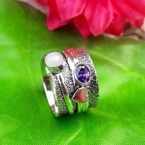 Spinner Spinning Band Ring, 925 Sterling Silber Ring, Amethyst und Mondstein Ring, Herz Herren Ring, Statement-Verlobungsring