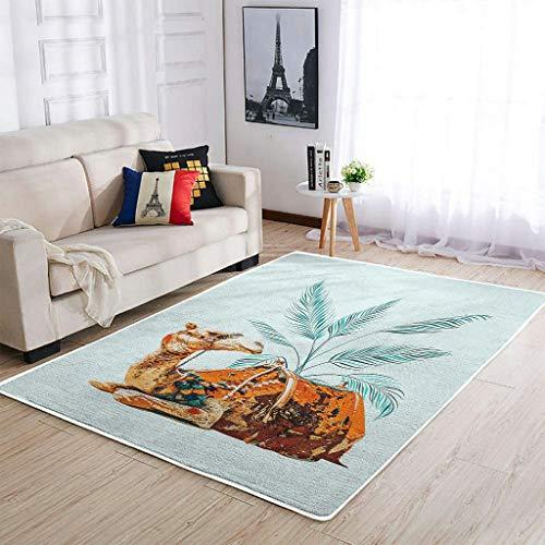 Tobgreatey Easy Care Area Rugs Alfombra étnica Camel Tropical Leaf Alfombra de piso blanca 48 x 72 pulgadas