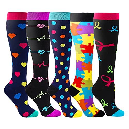 Kompressionsstrümpfe Sneaker Socken Herren Damen Laufsocken Sprunggelenkschutz und Mittelfußstütze für Laufen Radfahren Erholung Blutzirkulation, 5 Paar- A Mehrfarbig, S-M