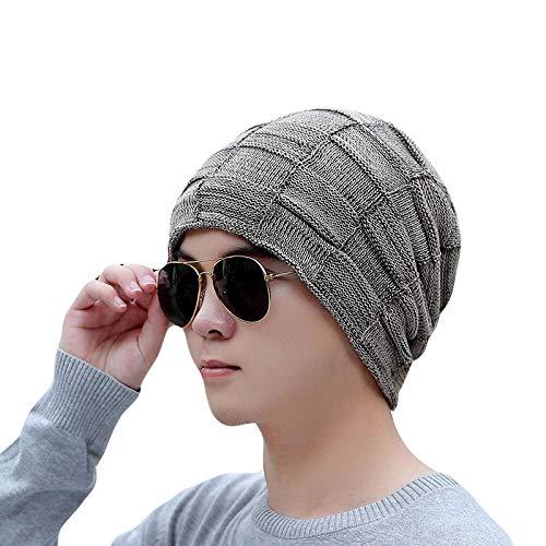 Bonnet Unisexe Chapeau tricoté Homme Beanie Hats, Mode Hommes Hiver Épais Chaud Bonnets SkulliesKnit À Carreaux Unisexe Bonnet Marque Femmes Caps @ Khaki