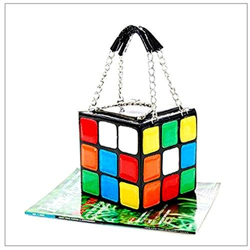 HQdeal Donne Modo Borsa di Cuoio Rubik Cubo