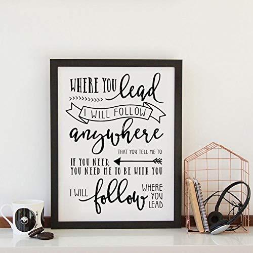 Leinwand Druck Plakat Gilmore Girls Poster Drucke, Wo Sie Führen Lyrics Zitat Leinwand Malerei Schwarz-Weiß Bild Kunst Dekor Geschenk Für Sie