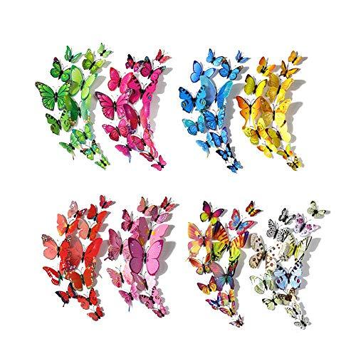 Feliciay 96 pegatinas murales extraíbles de mariposa 3D para decoración del hogar y de la habitación, coloridas, manualidades, fiesta, boda, oficina, dormitorio, sala con imanes (8 colores)