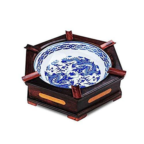 TWDYC Cenicero de cerámica y madera maciza, de cerámica y madera maciza, bandeja de cenizas para el hogar, oficina, decoración de arte