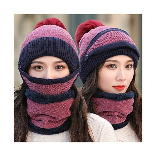 OYPY Hut Frauen Sets 3 Strickklotzen Hüte mit Lätzchen Maske Weibliche Winter Samt Dicke Warme Strickwolle Radkappen (Farbe : Lila)